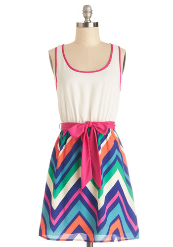 Zigzag Zowie Dress - Mid-length, Chevron, Belted, Casual, A-line, Tank top (2 thick straps), Good, Scoop, Multi, White, Twofer