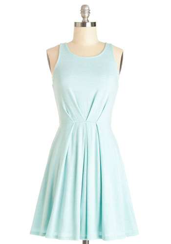 Pacific Host Dress - Mid-length, Knit, Blue, Solid, Casual, A-line, Sleeveless, Good, Scoop