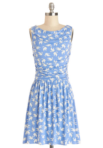 Feelin' Fly Dress - Blue, White, Print with Animals, Ruching, Casual, Critters, A-line, Sleeveless, Better, Cowl, Knit, Mid-length, Bird, Woodland Creature
