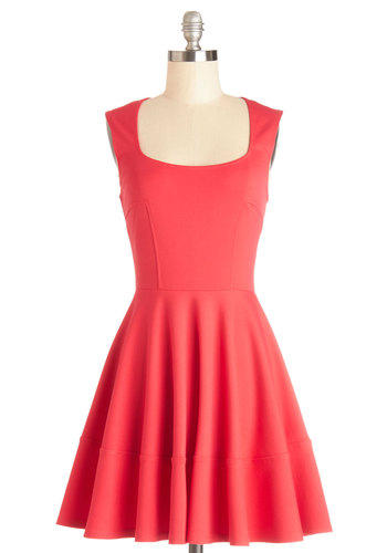 Cute Your Fancy Dress - Coral, Solid, Casual, Fit & Flare, Sleeveless, Better, Knit, A-line, Scoop, Mid-length
