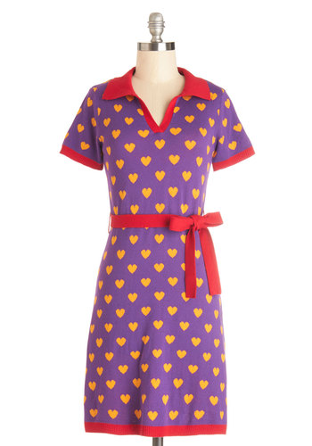You're Such a Charmer Dress - Purple, Yellow, Casual, 80s, Quirky, Shift, Short Sleeves, Better, International Designer, Collared, Vintage Inspired, Mid-length, Cotton, Knit, Red, Novelty Print, Trim, Belted, Kawaii