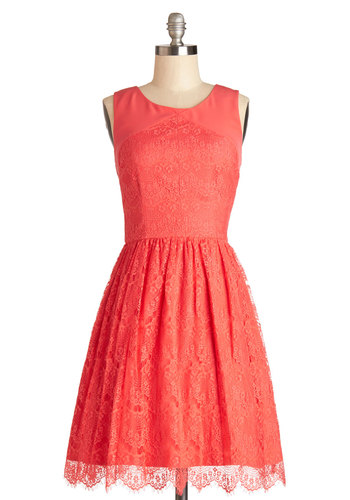Roll in with the Punch Dress in Coral - Coral, Solid, Cutout, Exposed zipper, Lace, Scallops, Daytime Party, A-line, Sleeveless, Better, Scoop, Mid-length, Lace, Wedding, Bridesmaid
