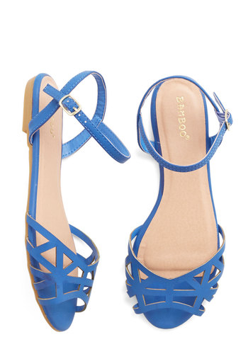 Favorite Delicatessen Sandal in Cornflower Blue - Flat, Faux Leather, Blue, Solid, Cutout, Summer, Good, Variation