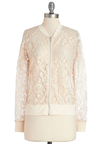 Bicycle Caravan Jacket by Jack by BB Dakota - Good, White, Sheer, Woven, Lace, Mid-length, Cream, Solid, Lace, Long Sleeve, 1, Spring