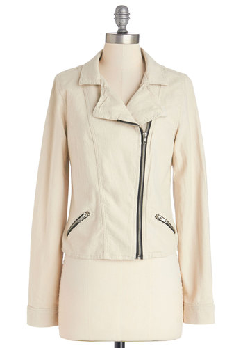Put It In Neutral Jacket - Good, White, Knit, Cream, Solid, Exposed zipper, Pockets, Urban, Long Sleeve, 1, Spring, Short
