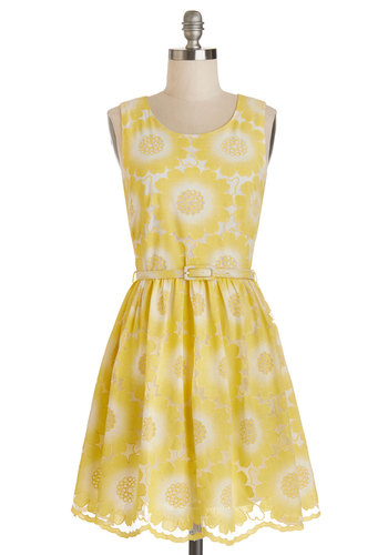 Soiree of Light Dress by Yumi - White, Floral, Belted, A-line, Summer, Better, Scoop, Mid-length, Woven, Lace, Yellow, Daytime Party, Graduation, Sundress