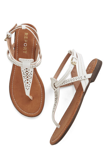 So Fresh and So Gleaming Sandal - Low, Faux Leather, White, Solid, Cutout, Beach/Resort, Summer, Good, T-Strap, Social Placements