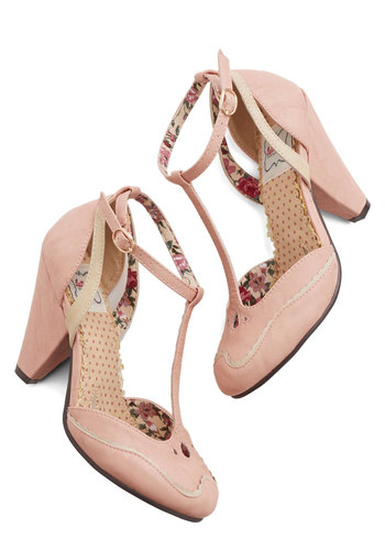 Classic Confection Heels in Bubblegum by Bettie Page - High, Faux Leather, Pink, Solid, Party, Daytime Party, Vintage Inspired, 20s, 30s, Better, T-Strap, Variation