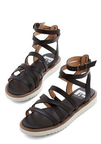 Around the Grounds Sandal by BC Footwear - Low, Faux Leather, Black, White, Better, Strappy, Solid, Casual, Festival, Summer, Boho