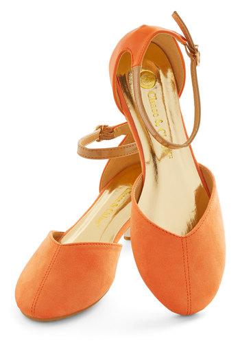 Refresh Your Steps Flat - Flat, Faux Leather, Orange, Solid, Casual, Spring, Summer, Good, Ankle, Social Placements