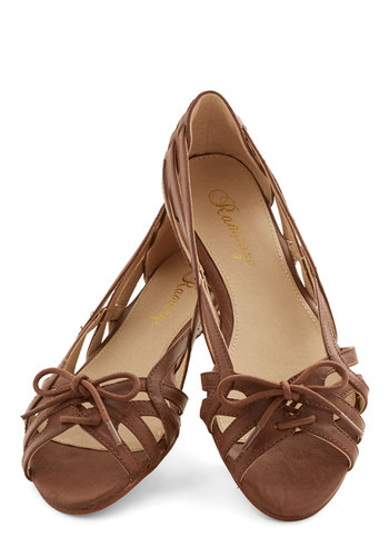 Laceful Landing Flat - Flat, Faux Leather, Brown, Solid, Woven, Casual, Beach/Resort, Spring, Summer, Best, Strappy