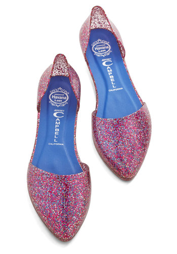 Confetti on the Dance Floor Flat in Pink by Jeffrey Campbell - Flat, Pink, Solid, Glitter, Party, Good, Variation, Vintage Inspired, 90s