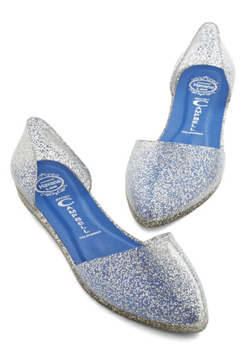 Confetti on the Dance Floor Flat in Silver by Jeffrey Campbell - Flat, White, Solid, Glitter, Party, Good, Variation