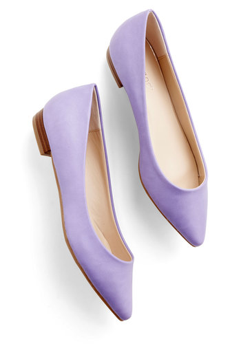 Follow the Arrow Flat in Lavender - Low, Faux Leather, Lavender, Solid, Wedding, Daytime Party, Pastel, Minimal, Good, Variation, Work, Top Rated