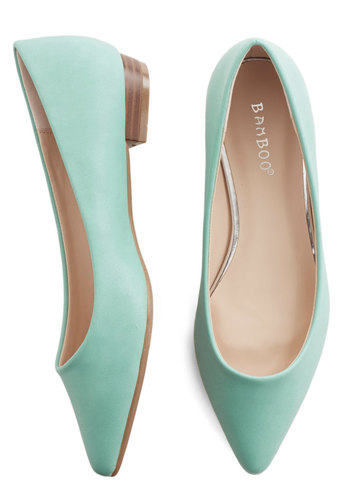 Follow the Arrow Flat in Mint - Low, Faux Leather, Mint, Solid, Wedding, Work, Daytime Party, Pastel, Minimal, Good, Variation