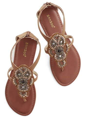 Gotta Bead There Sandal - Flat, Faux Leather, Tan, Multi, Beads, Boho, Summer, Good, Statement