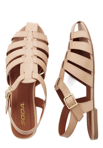 Call It a Day Trip Sandal - Flat, Faux Leather, Tan, Solid, Summer, Good, Strappy, Casual, Festival