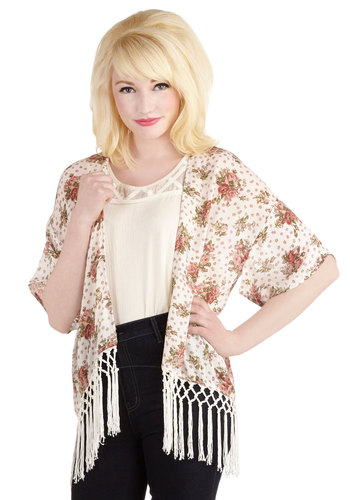 A Bit of Fresh Airy Jacket - Sheer, Pink, Floral, Fringed, Daytime Party, Short Sleeves, Chiffon, Knit, Festival, 1, Spring, Summer, Boho, Long