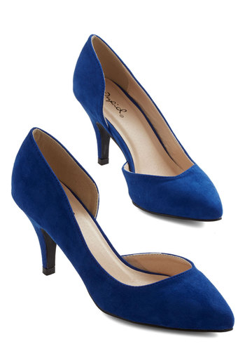 Laud and Cheer Heel in Cobalt - Blue, Solid, Wedding, Party, Good, Variation, Girls Night Out, Mid, Faux Leather, Work, Minimal