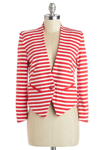 Cute Recruiter Blazer - Good, Red, Knit, Short, Red, White, Stripes, Buttons, Pockets, Work, Cropped, Long Sleeve, 1