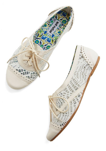 Follow My Footsteps Flat in Ivory - Flat, Faux Leather, Woven, Sheer, Cream, Solid, Crochet, Scallops, Casual, Spring, Summer, Good, Lace Up, Variation