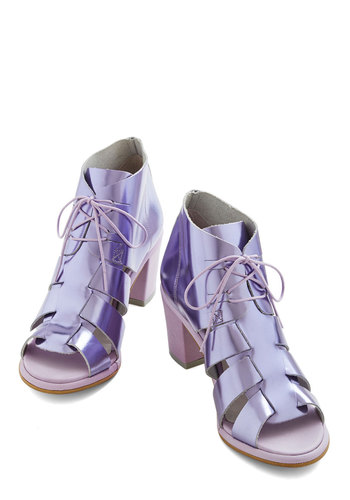 Your Foil Majesty Heel - Mid, Leather, Purple, Solid, Cutout, Party, Daytime Party, Festival, Best, Chunky heel, Lace Up, Peep Toe
