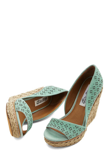 Main Street Meander Wedge in Mint - High, Leather, Suede, Mint, Solid, Cutout, Daytime Party, Pastel, Spring, Summer, Best, Platform, Wedge, Espadrille, Variation
