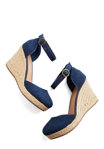 Chance Encounters Wedge - Mid, Woven, Blue, Solid, Casual, Daytime Party, Spring, Summer, Good, Platform, Wedge, Espadrille, Social Placements