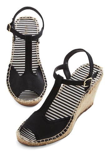 Anchors Sashay Wedge in Black - Mid, Woven, Black, Solid, Casual, Daytime Party, Beach/Resort, Good, Wedge, Espadrille, Variation, Spring, Summer, Nautical, Peep Toe