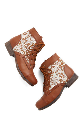 Desert Disco Bootie - Low, Faux Leather, Woven, Tan, White, Crochet, Boho, Good, Lace Up, Casual, Festival, Summer
