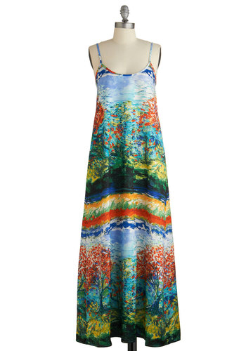 First Impressionism Dress - Maxi, Multi, Print, Cutout, Casual, Summer, Woven, Scoop, Pockets, Spaghetti Straps, Long, Exclusives, WPI