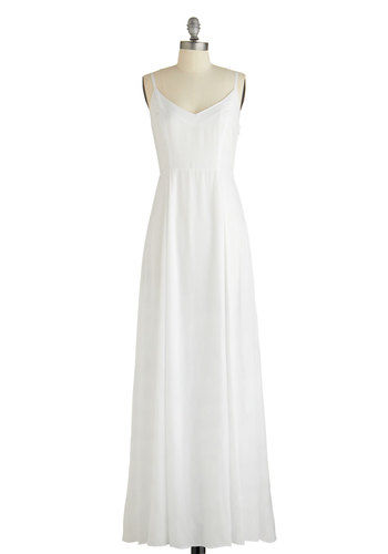 Sure to Be Mist Dress by BB Dakota - Maxi, White, Woven, Solid, Cutout, Special Occasion, Wedding, Bride, Spaghetti Straps, Better, Long, Summer