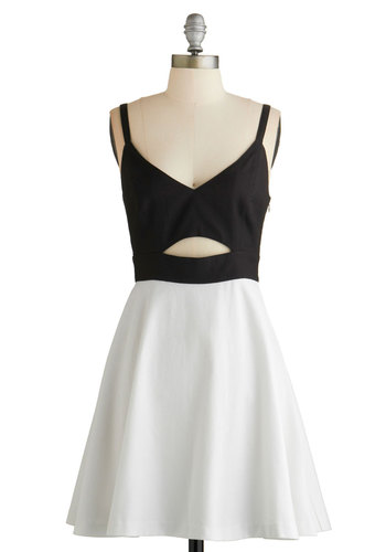 Step on Stage Dress by BB Dakota - Mid-length, Woven, Black, White, Cutout, Party, A-line, Spaghetti Straps, Better, V Neck, Solid, Girls Night Out