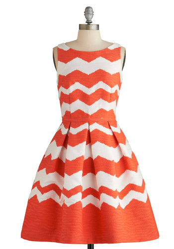 Stylish Idealist Dress - White, Coral, Chevron, Pleats, Party, Fit & Flare, Sleeveless, Summer, Better, Mid-length, Woven, Pockets, Boat, Americana
