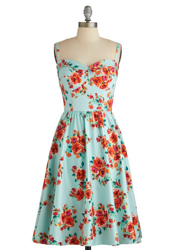Posy Parlance Dress by Stop Staring! - Blue, Red, Floral, Fit & Flare, Sleeveless, Summer, Best, Sweetheart, Multi, Daytime Party, Vintage Inspired, 50s, A-line, Long, Knit, Graduation
