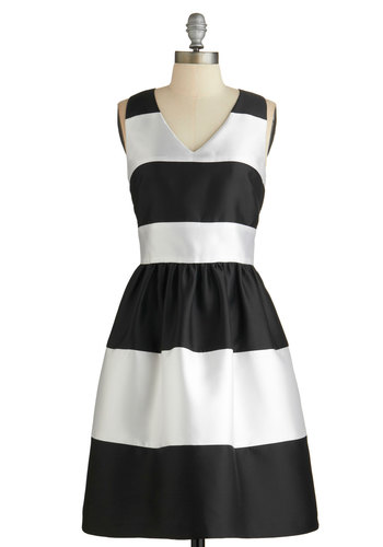 Fated Fete Dress - Prom, Party, Black, White, Stripes, Special Occasion, Sleeveless, Better, V Neck, Pockets, Cocktail, Full-Size Run, Homecoming, Mid-length