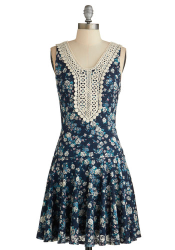 Billowing Bouquet Dress - Multi, Floral, Crochet, Casual, Drop Waist, Sleeveless, Summer, Woven, Better, Scoop, Blue, Short, Full-Size Run