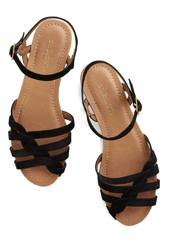 Come Out and Plait Sandal in Onyx by Bass - Low, Leather, Black, Solid, Braided, Beach/Resort, Better, Variation, Summer, Americana