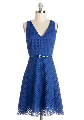 Friendly Effervescence Dress - Blue, Solid, Party, A-line, Sleeveless, Best, V Neck, Woven, Mid-length, Work