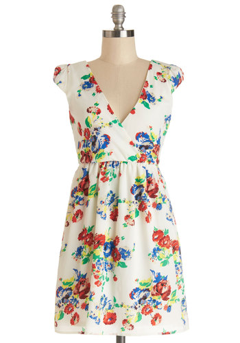 Set the Scenery Dress - Multi, Floral, Casual, A-line, Cap Sleeves, Good, V Neck, Short, Woven, Full-Size Run
