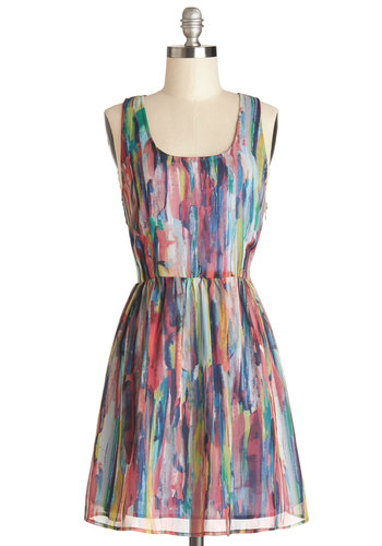 After the Rainstorm Dress by Jack by BB Dakota - Festival, Woven, Multi, Print, Cutout, Casual, A-line, Good, Sundress, Mid-length, Boho