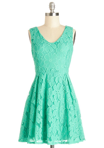 Meadow Magic Dress - Solid, Lace, Pleats, Party, A-line, Sleeveless, Better, V Neck, Mid-length, Woven, Lace, Green, Spring