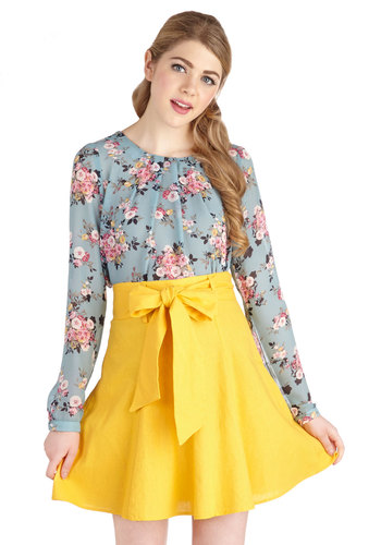 Musee Matisse Skirt in Yellow - A-line, Good, Yellow, Short, Woven, Yellow, Solid, Belted, Spring, Summer, Variation, Best Seller, Americana, Work, WPI