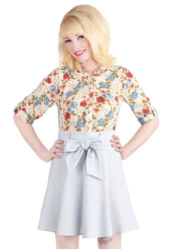 Musee Matisse Skirt in Sky - A-line, Good, Blue, Short, Woven, Blue, Solid, Belted, Casual, Daytime Party, Spring, Summer, Pastel, Variation, Best Seller, Americana, High Waist
