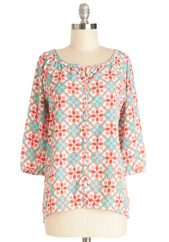 Ciao and Again Tunic - Multi, 3/4 Sleeve, Woven, Mid-length, Multi, Red, Blue, Print, Buttons, Work, 3/4 Sleeve, Spring