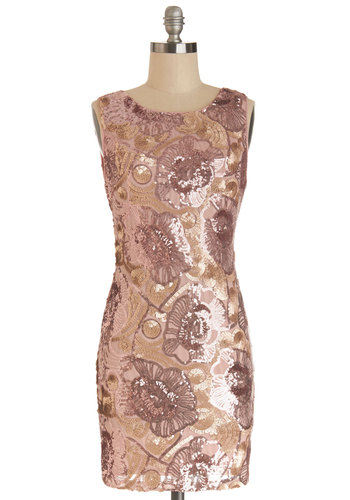 Moonlight and Rose Gold Dress - Short, Pink, Gold, Sequins, Special Occasion, Prom, Shift, Sleeveless, Woven, Better, Scoop, Bodycon / Bandage