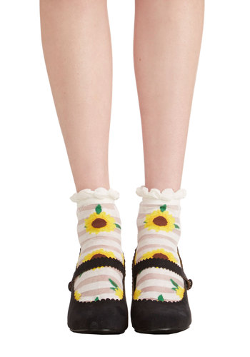 Cheer We Go Socks - Yellow, Brown, Stripes, Floral, Casual, Spring, Summer, Good, Festival, Knit, Multi, White, Yellow