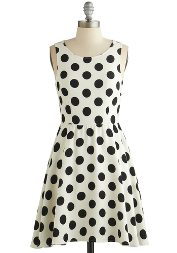 Dot You Forget About Me Dress - Black, White, Polka Dots, Casual, Sleeveless, Good, Scoop, Short, Woven, A-line, Spring, WPI, Top Rated