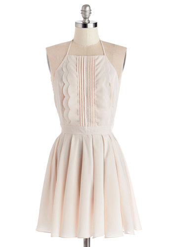 Quite Confectionary Dress - Pink, Solid, Backless, Bows, Pleats, Scallops, Wedding, Bridesmaid, Pastel, A-line, Sleeveless, Good, Halter, Woven, Mid-length, Daytime Party