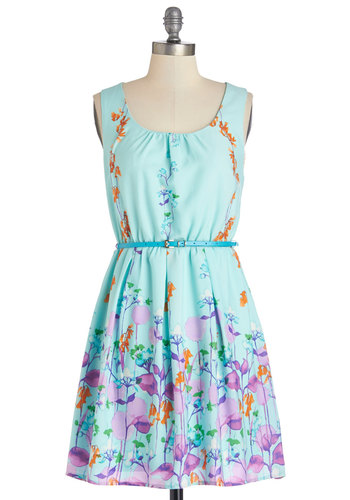 Ring the Bell Flower Dress - Multi, Floral, Casual, A-line, Sleeveless, Good, Scoop, Mid-length, Chiffon, Woven, Blue, Belted, Sundress